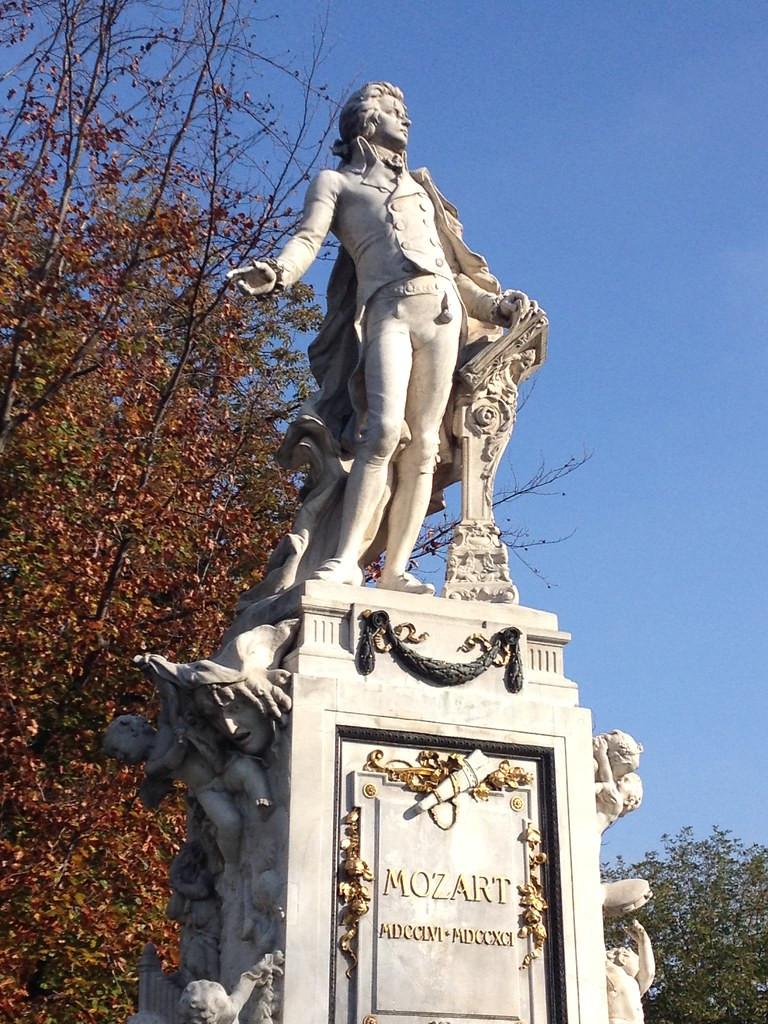 famous Mozart statue in the Burggarten