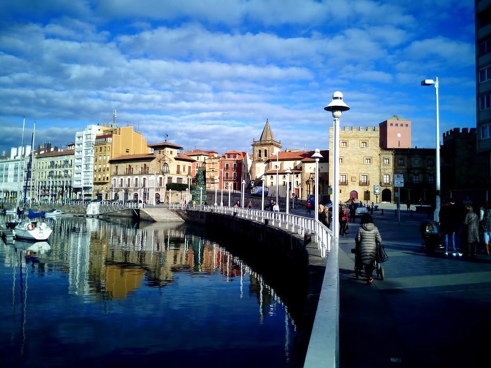 the seaside city of Gijon in Asturias Spain