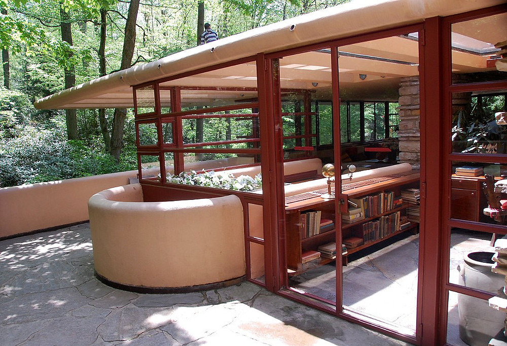 the first floor terrace at Fallingwater, which cracked under duress and was repaired