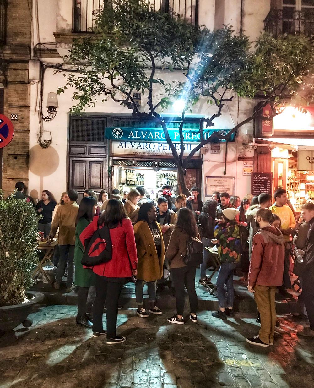 Alvara Peregil Tapas Bar -- so mobbed in February that no one fits inside.