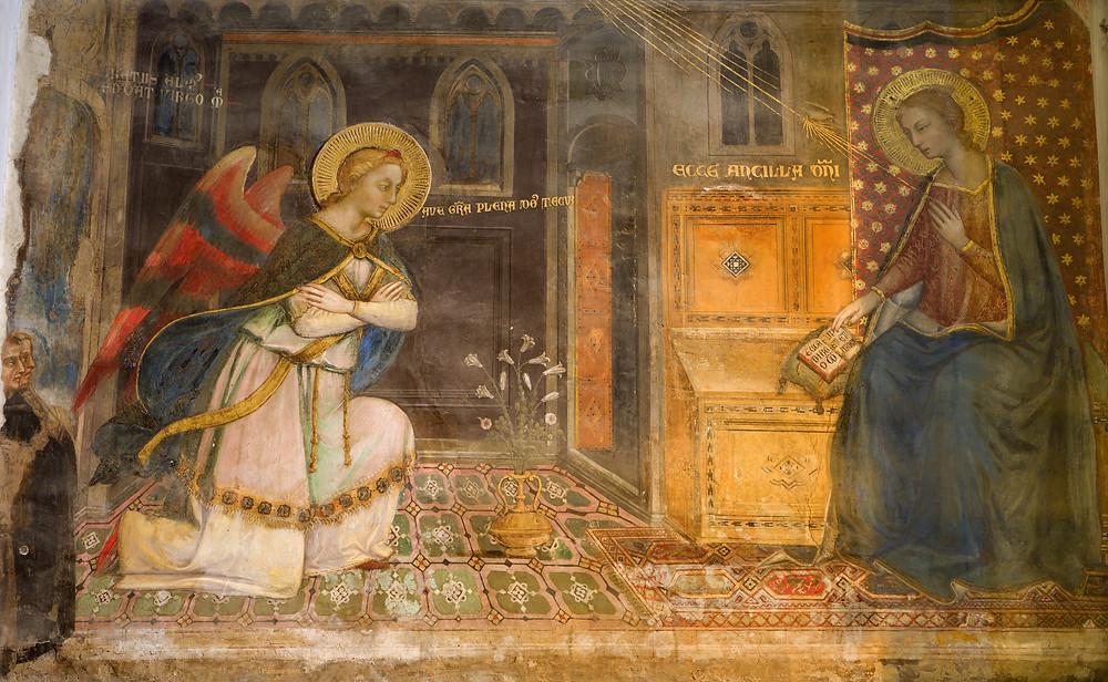 the Annunciation fresco in the Portuguese Chapel of Florence's San Miniato al Monte