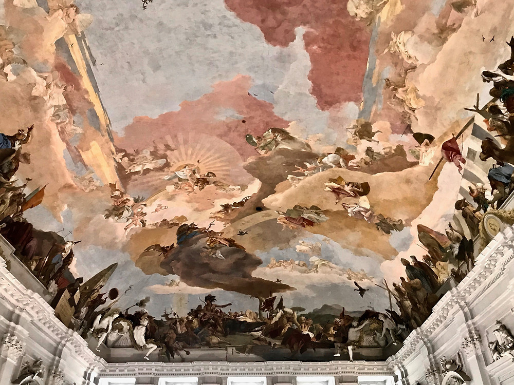 the Tiepolo fresco adorning the top of the grand staircase