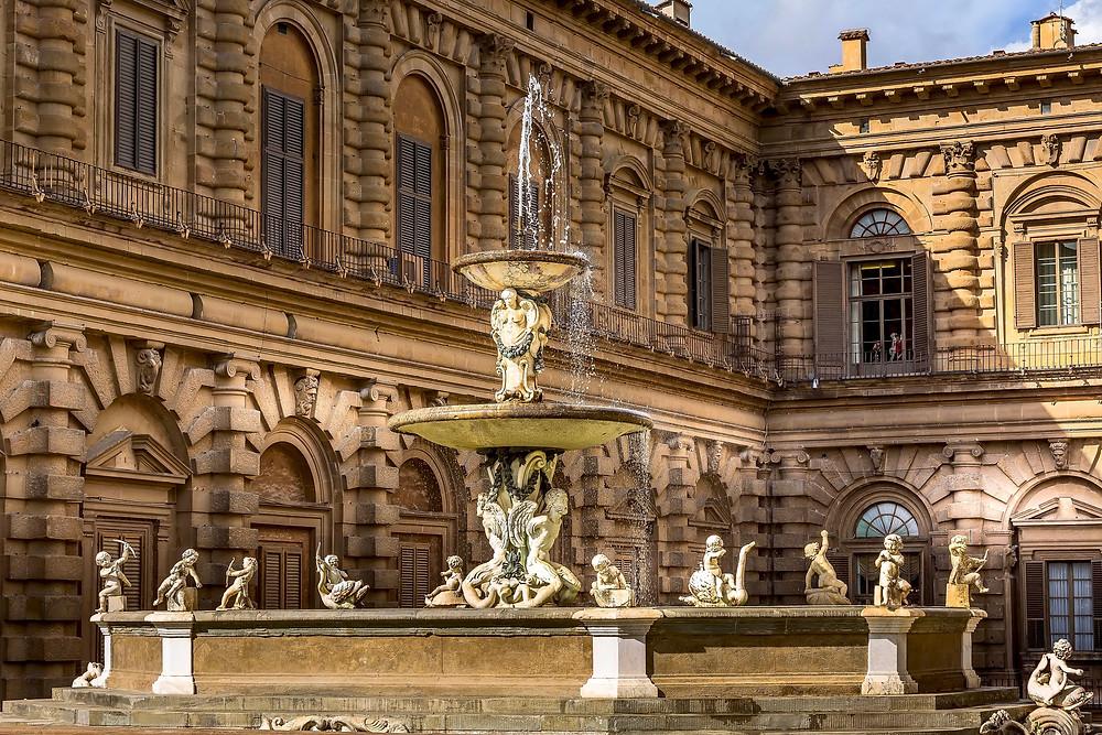 close up of the Pitti Palace Artichoke Fountain