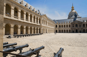 the exterior courtyard of Paris' Army Museum, know as the Cour d'honneur