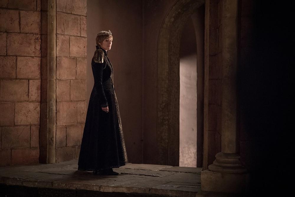 a triumphant but not altogether happy Queen Cersei