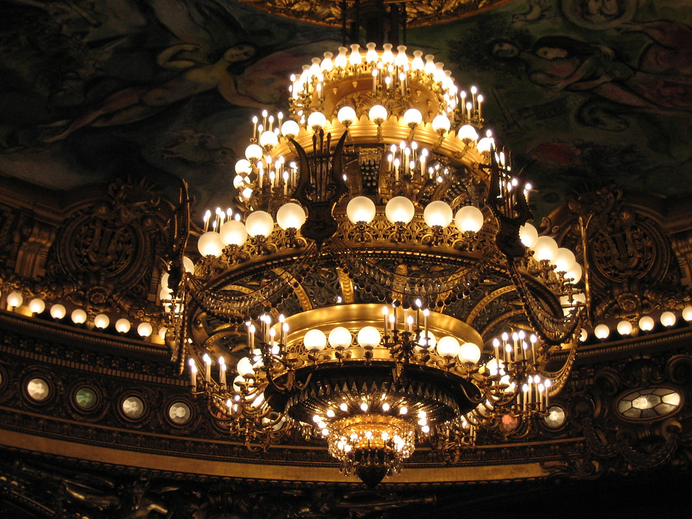 the 7 ton chandelier in the Paris Opera house