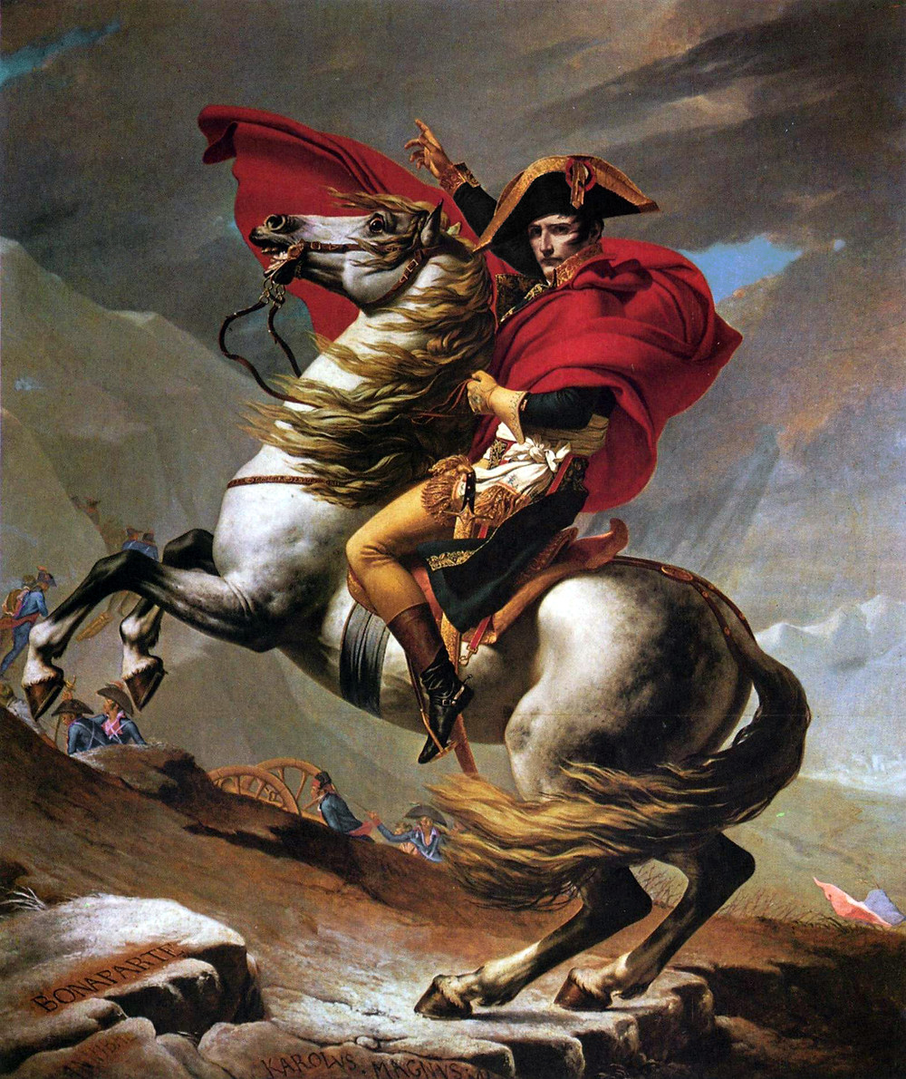 Jacques-Louis David, Napoleon Crossing the Alps, 1801 -- in the must see Belvedere Museum in Vienna
