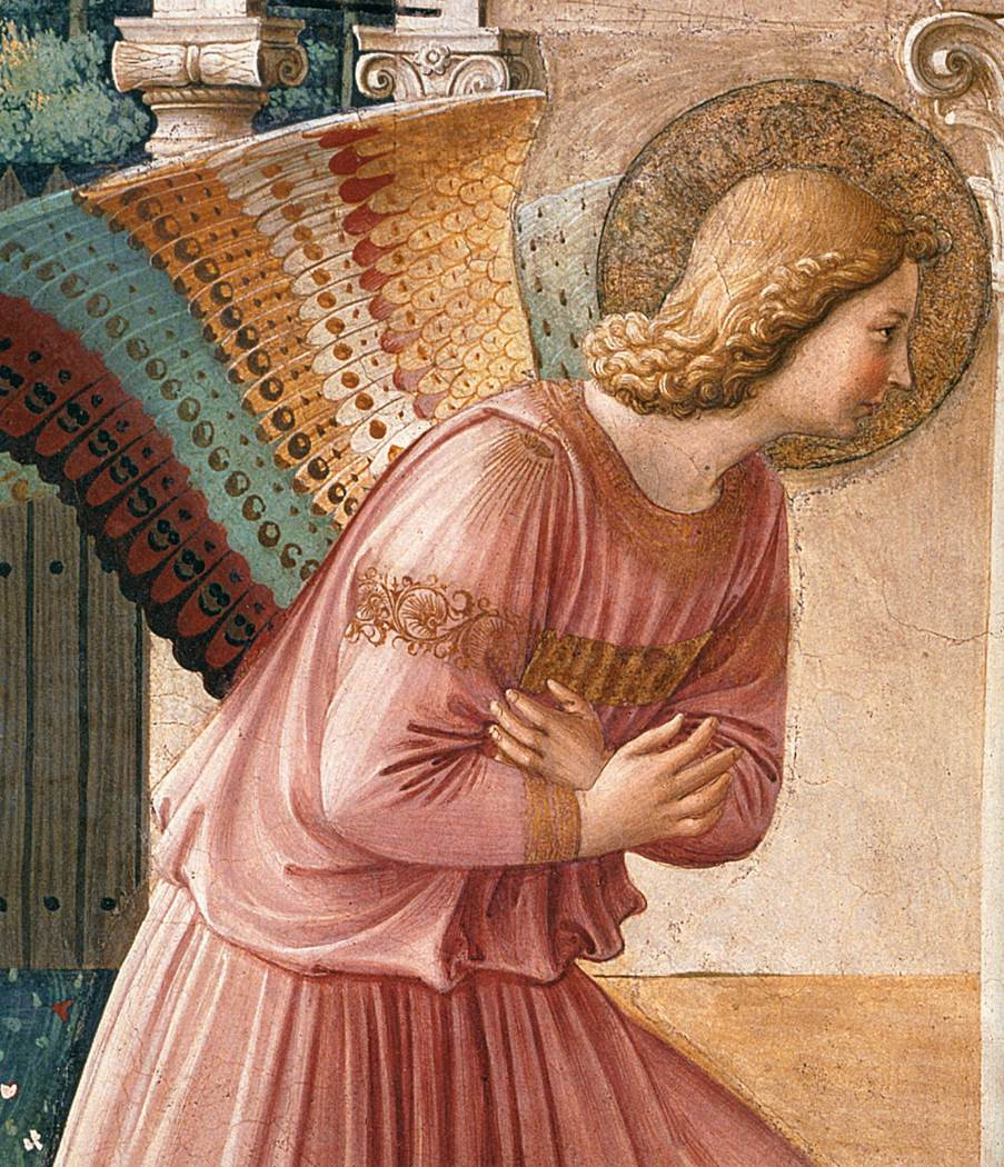detail of the angel Gabriel ands remarkable wings in the Annunciation