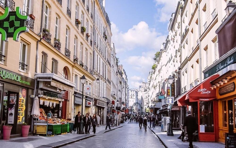 Rue Montorgueil, one of Paris' permanent food market streets