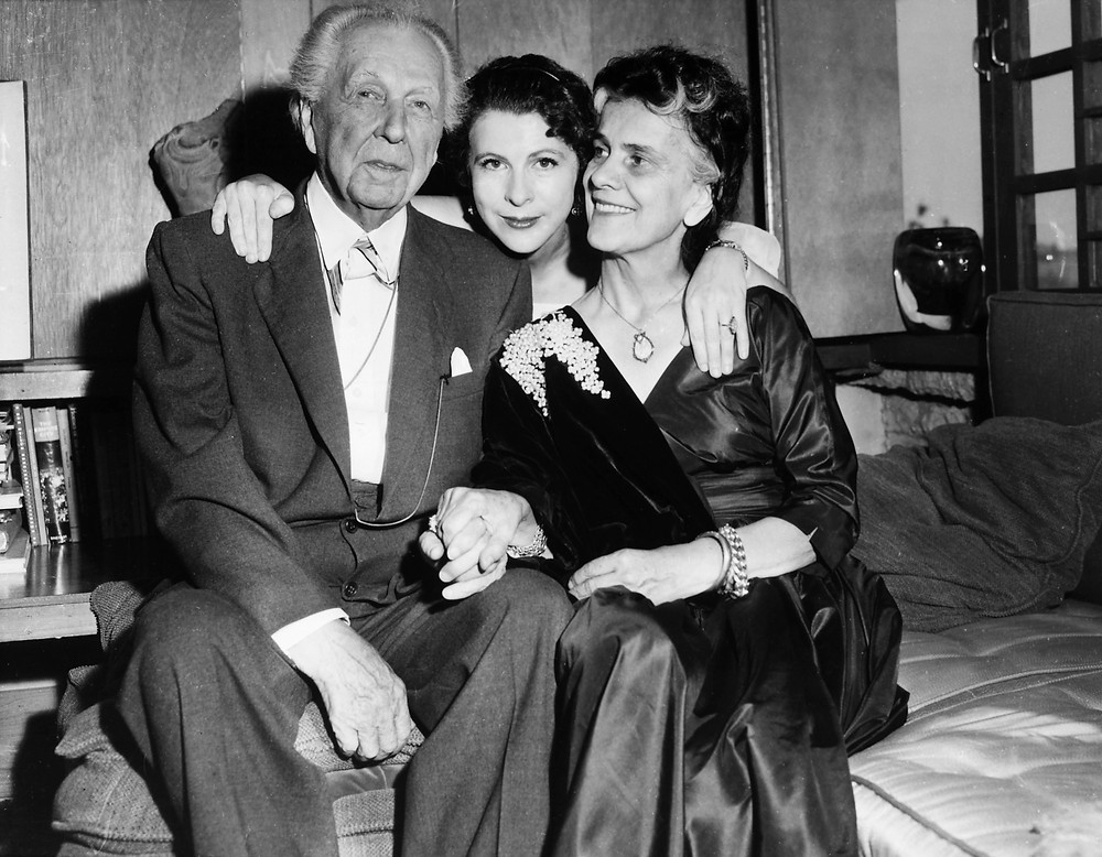 Frank Lloyd Wright with his wife Oglivanna and daughter Iovanna