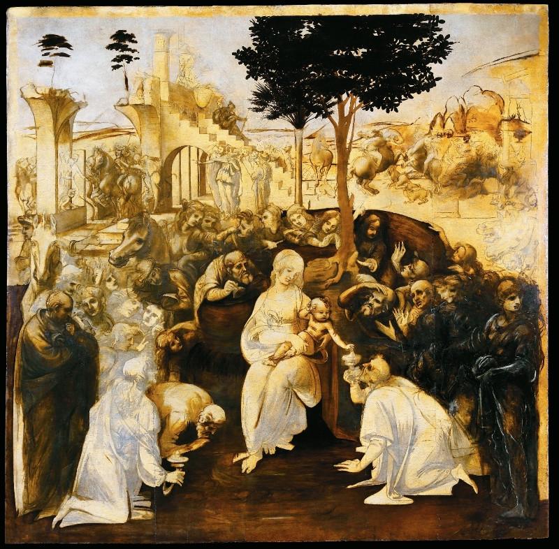 Leonardo da Vinci, Adoration of the Magi, 1481 -- in the Uffizi Gallery
