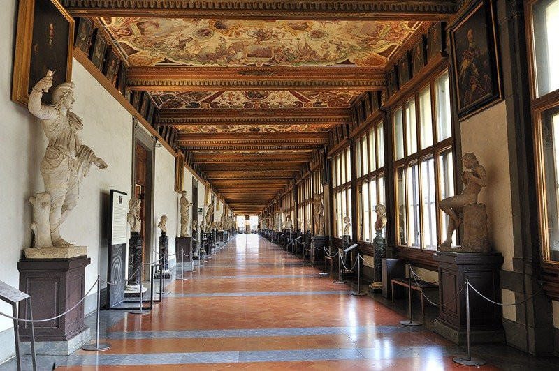 East Corridor of the Uffizi, decorated with grotesque frescos