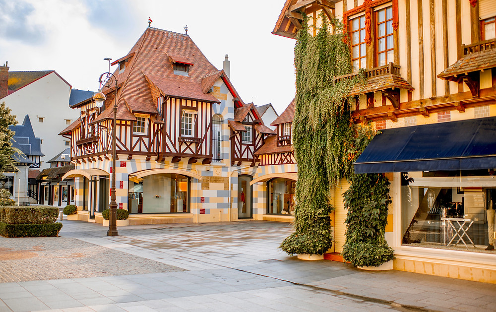 pretty houses in Deauville, a beautiful town on the coast of Normandy