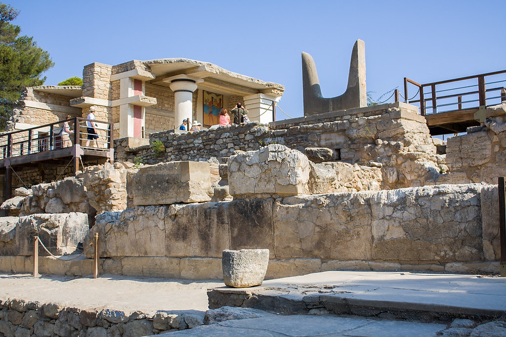 """the Knossos complex, with the """"Horns of Consecration"""" on the upper right. This was a ubiquitous Minoan symbol, but these horns are a recreation."""
