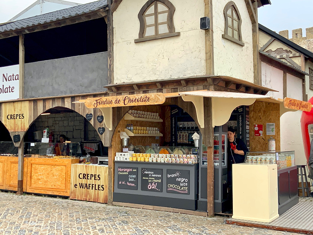 one of 100s of shops at the Obidos Chocolate Festival