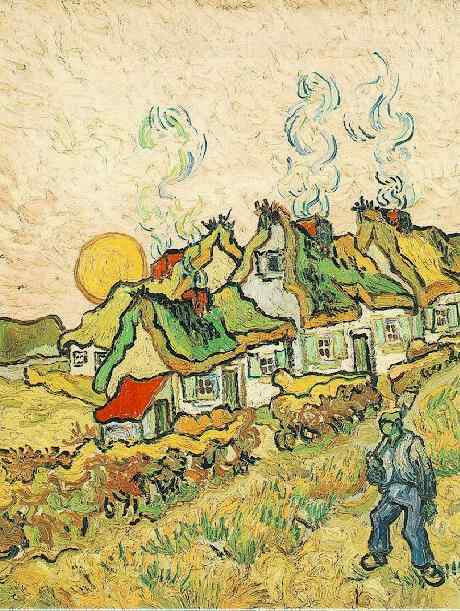 Vincent Van Gogh, Thatched Cottages in the Sunshine