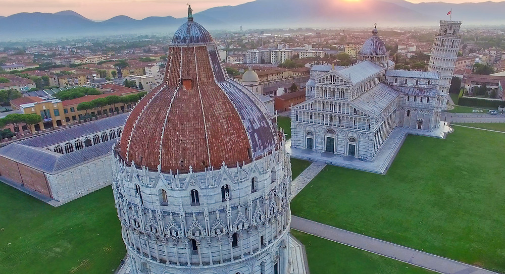 aerial view of Pisa's Field of Miracles