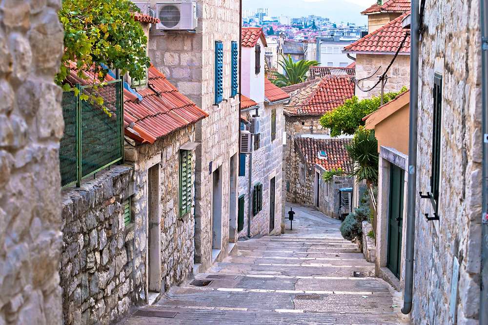 ancient stone street in the old town of Split