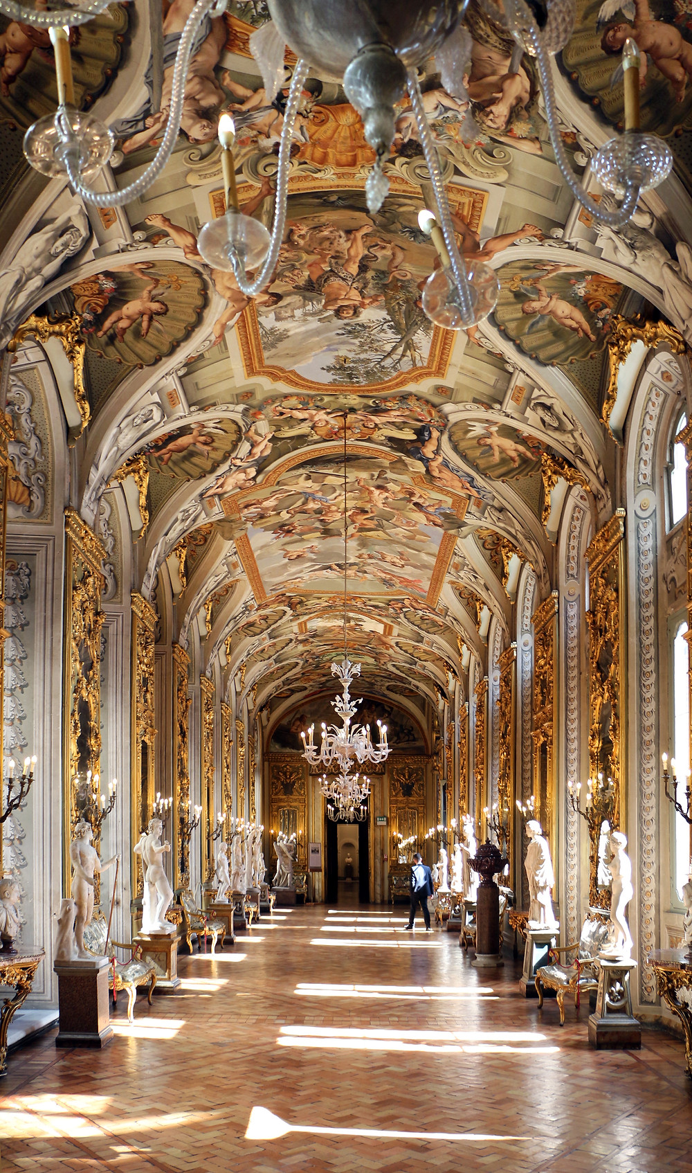the beautiful Gallery of Mirrors in the Doria Pamphilj