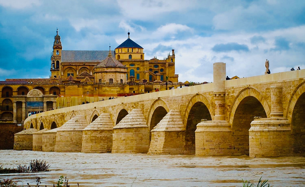 the Roman Bridge, with the Mezquita as a backdrop, in Cordoba