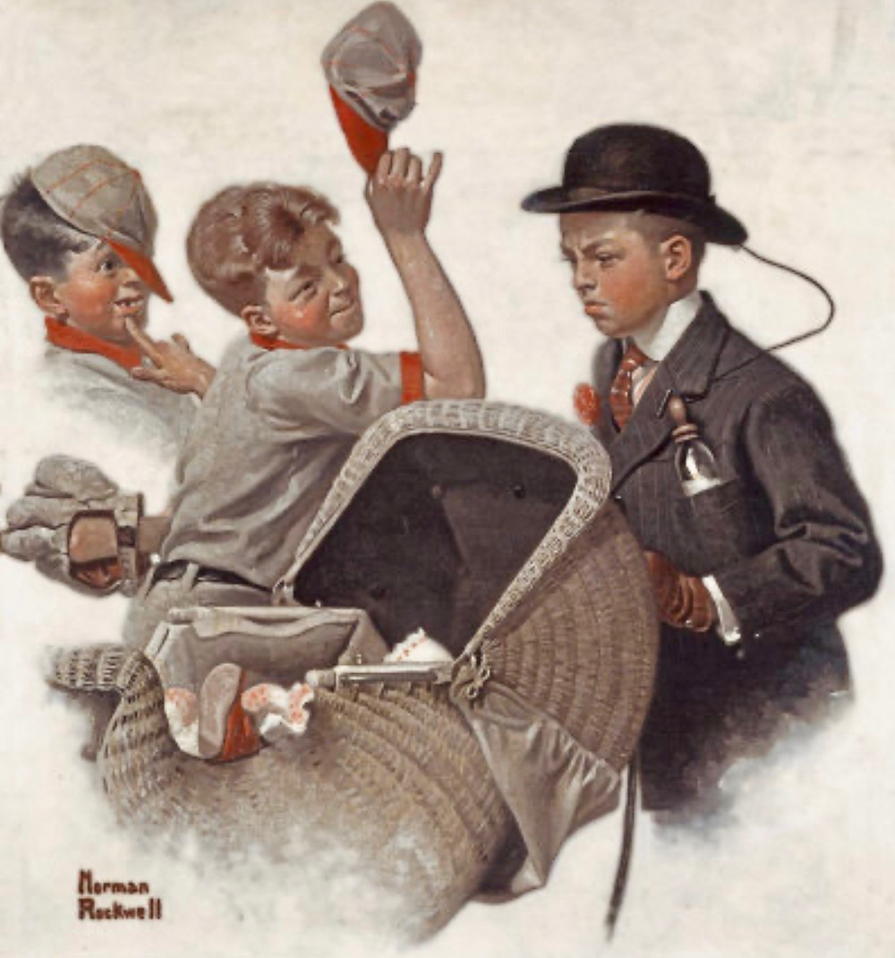 Norman Rockwell, Boy with Baby Carriage, 1916 -- in the Norman Rockwell Museum