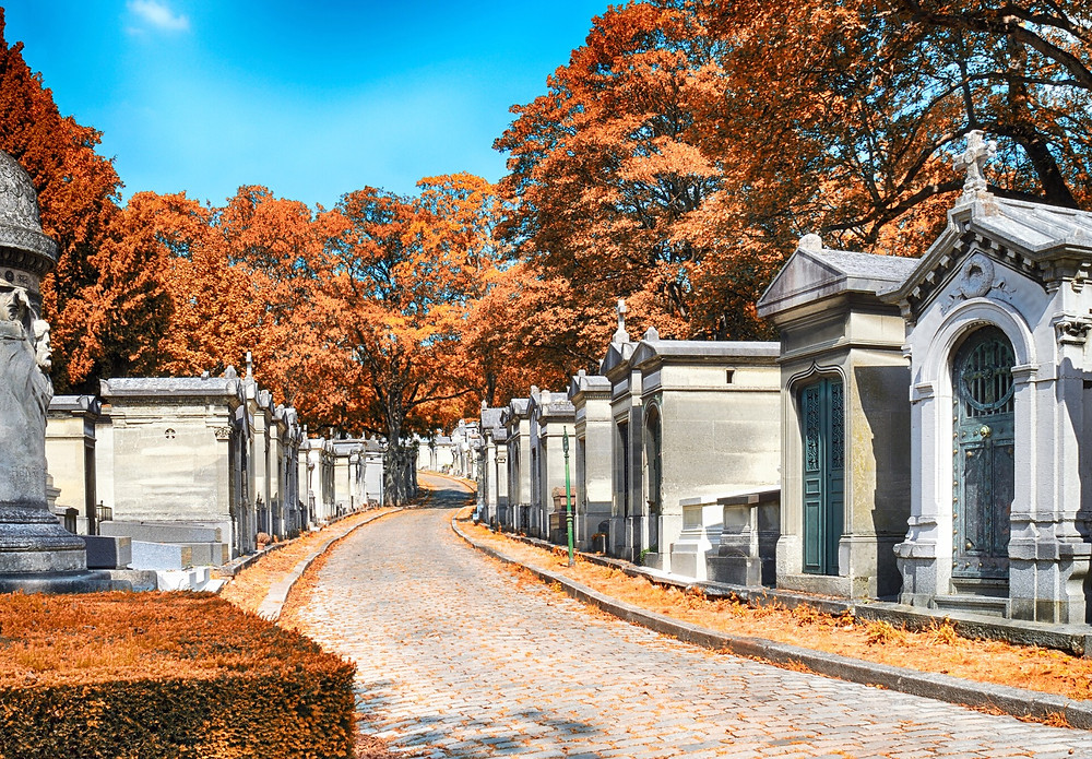one of the main roads through Pere LaChaise Cemetery