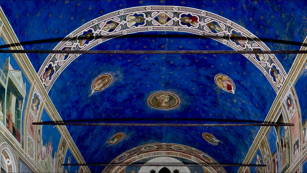 the star studded ceiling of the Scrovegni Chapel