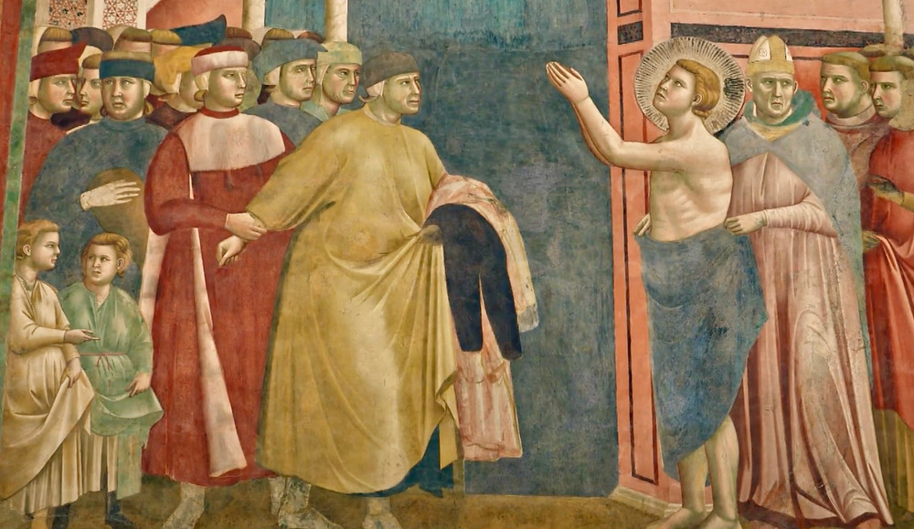 St. Francis rejecting his world goods and his father
