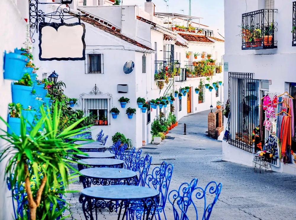 pretty be-flowered street in Mijas