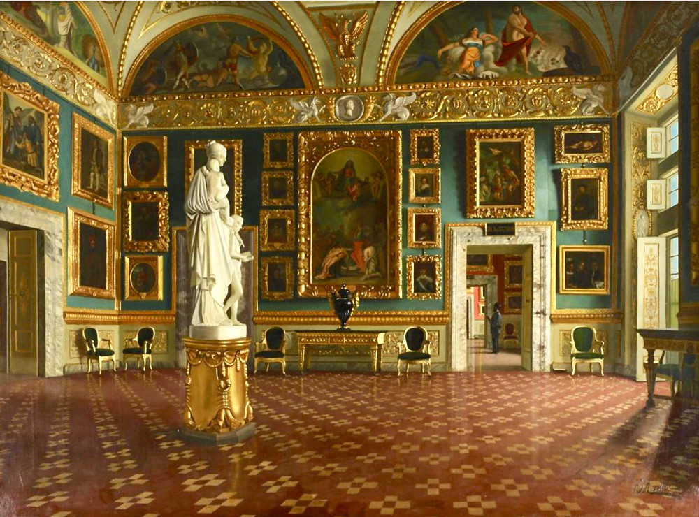 the Iliad Room in the Pitti Palace, with a sculpture by Lorenzo Bartolini representing Charity