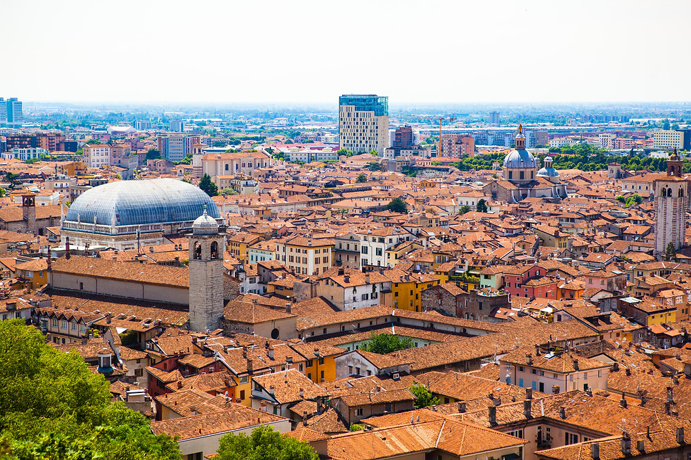 aerial view of the historic center of Brescia