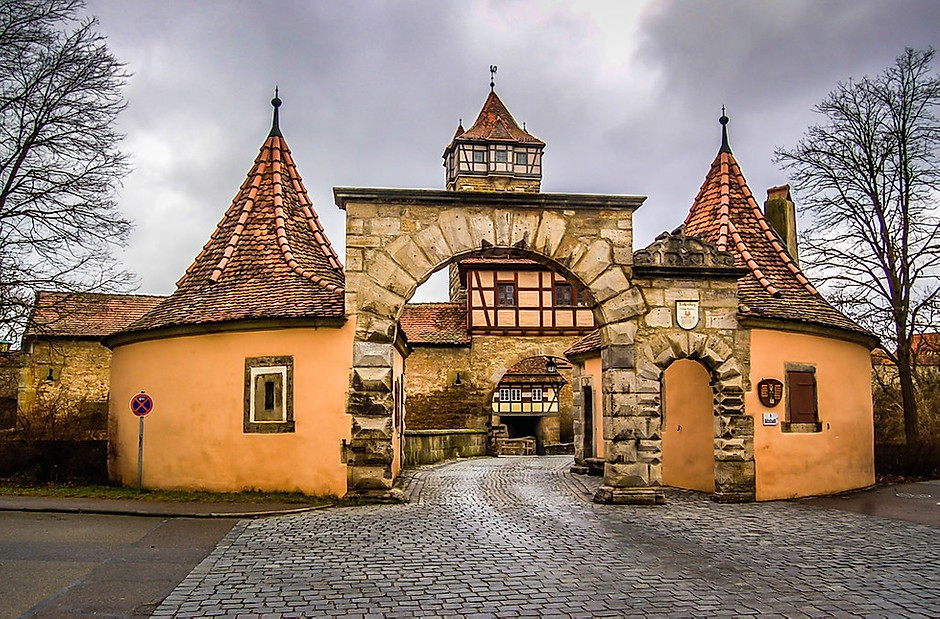 fortified city gate in Rothenburg ob der Tauber