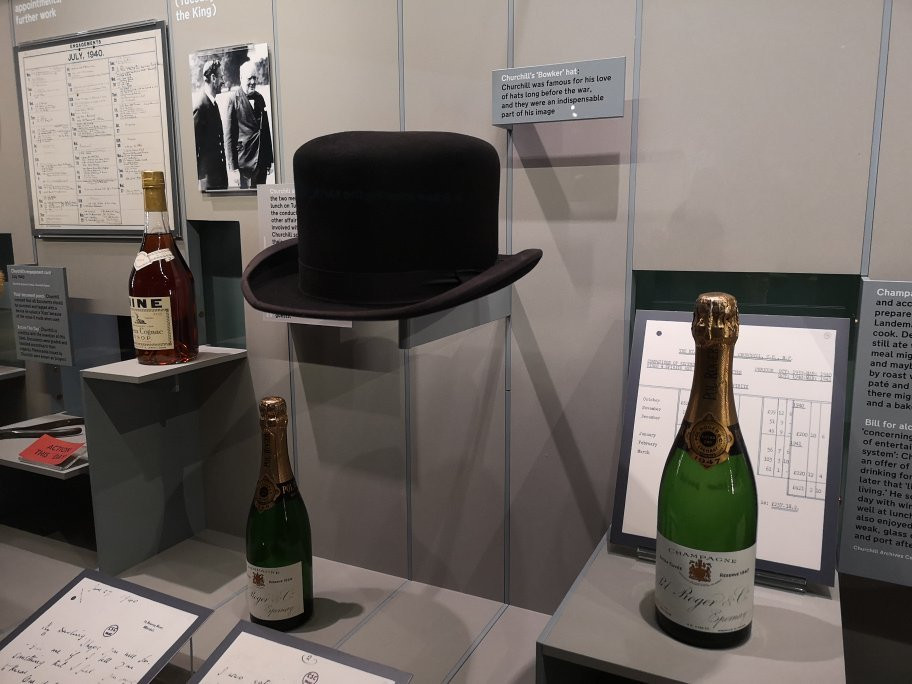 some of Churchill's favorite things -- his famous derby hat and champagne