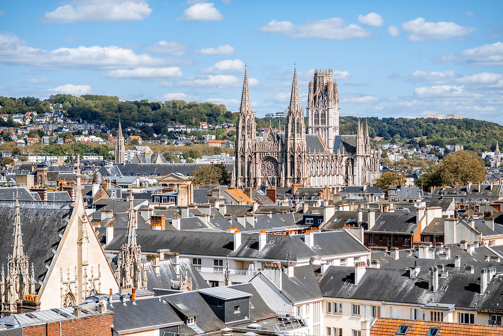 cityscape of Rouen with Rouen Cathedral