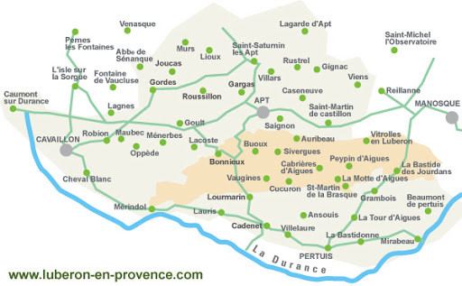map of the towns in the Luberon Valley of Provence. Image source: luberon-en-provence