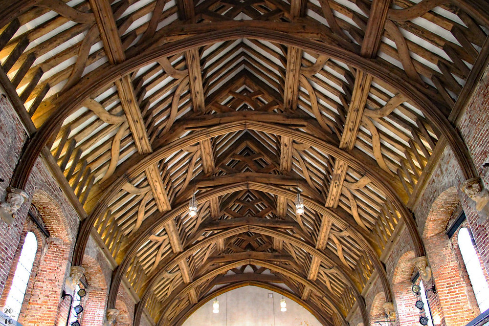 the timber ceiling of the Great Banquet Hall in the Old palace at Hatfield House