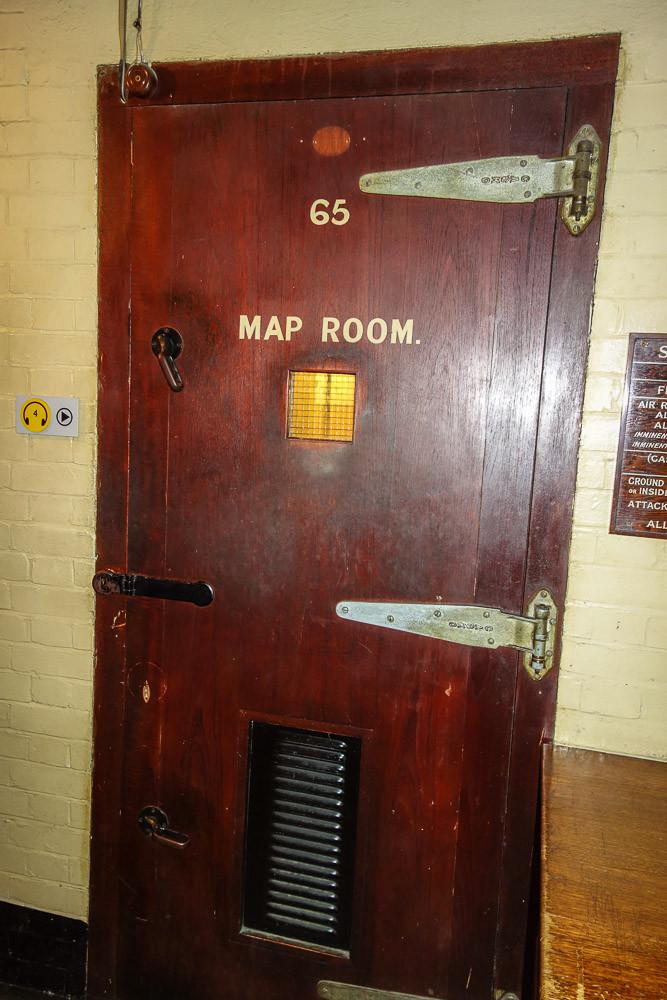 door to the Map Room in the underground bunker