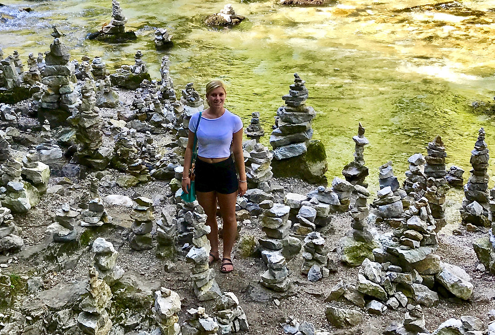 my daughter in the rock formations at Vintgar Gorge