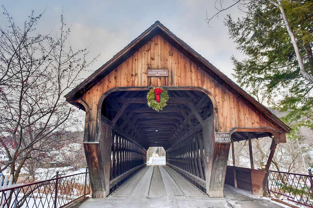 classic covered bridge in Woodstock Vermont