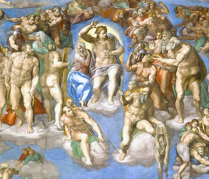 detail from Michelangelo's The Last Judgment, on the altar wall of the Sistine Chapel