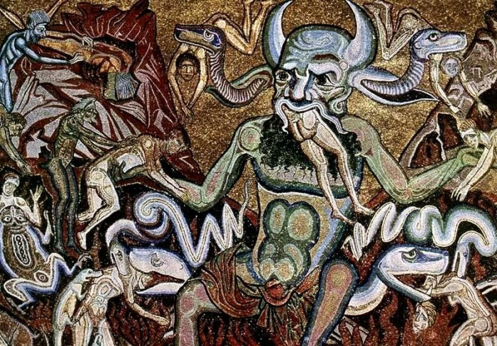 the figure of Satan eating the damned