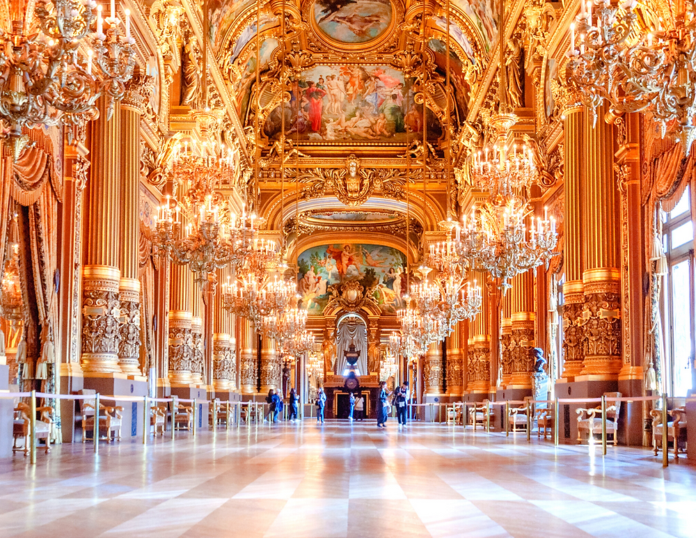 the Grand Foyer, similar to the Hall of Mirrors in Versailles