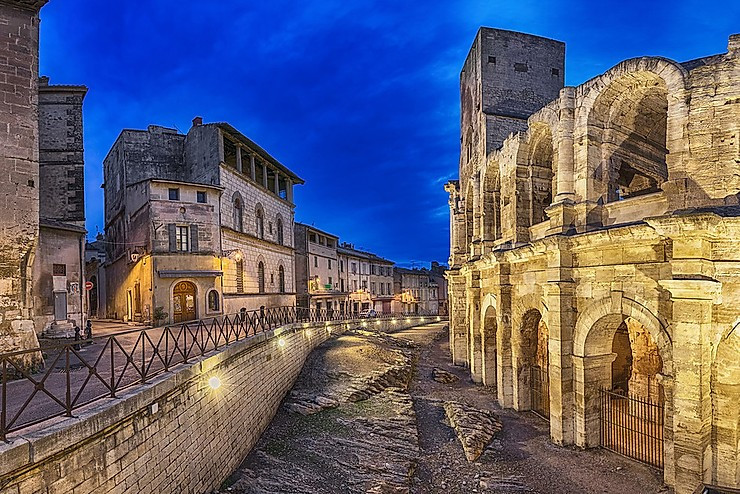 the streets and the amphitheater in Arles