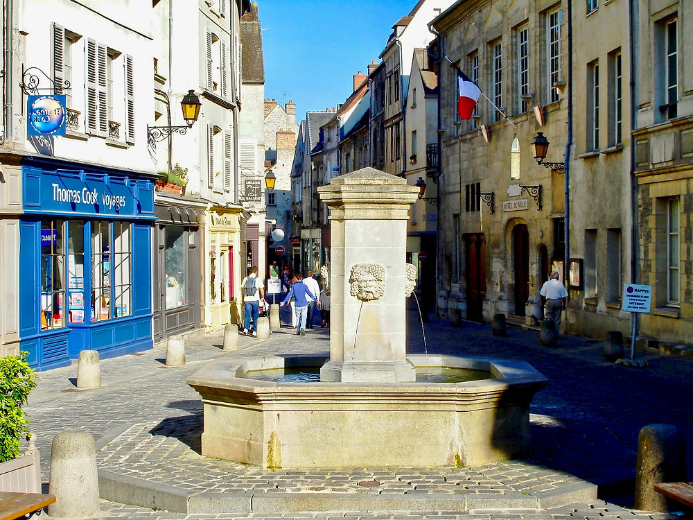 beautiful square in the medieval village of Senlis outside Paris