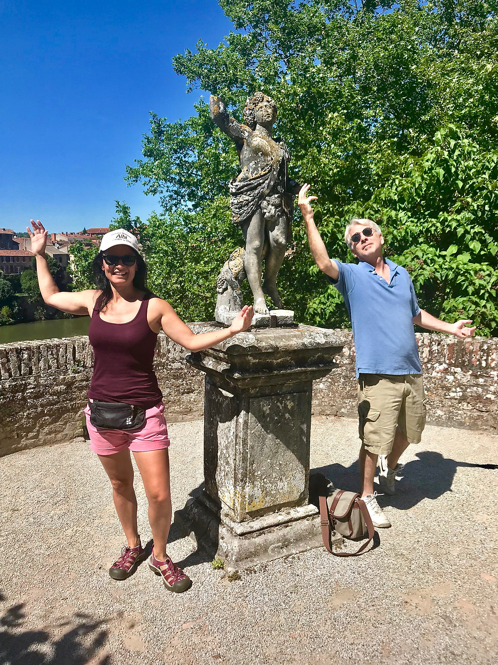 playing with the sculptures in Albi France