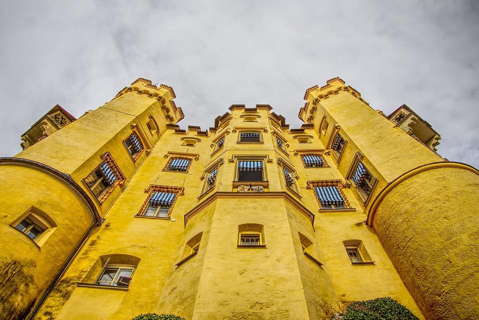 ochre colored facade of Hohenschwangau Castle