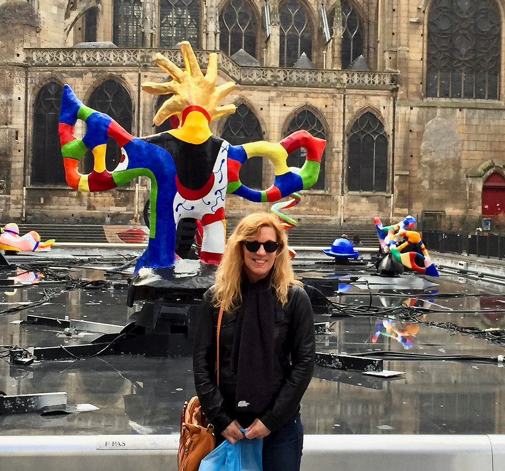 me on a chilly February day in front of the Pompidou Center's Stravinsky Fountain