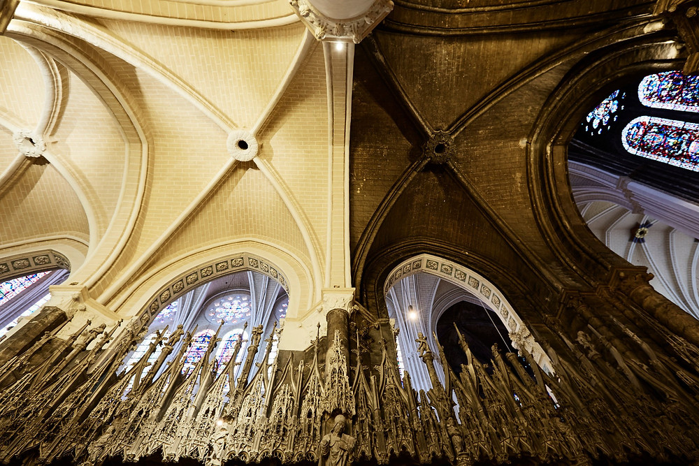 The contrast between the restored and untouched sections of Chartres Cathedral is stark.CreditRoberto Frankenberg for The New York Times