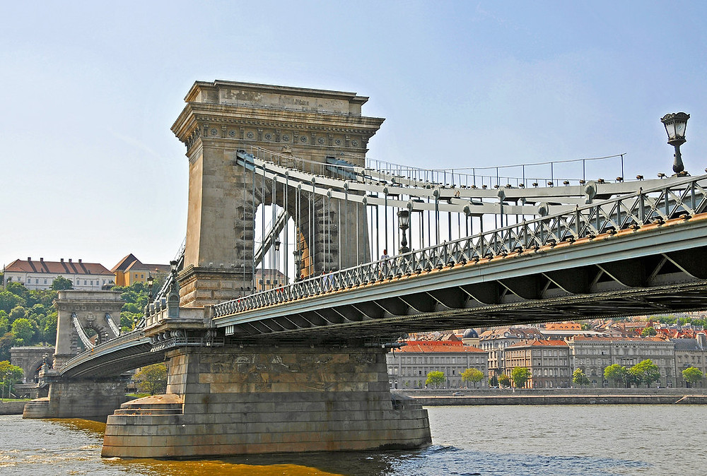 Széchenyi Chain Bridge over the Danube River in Budapest