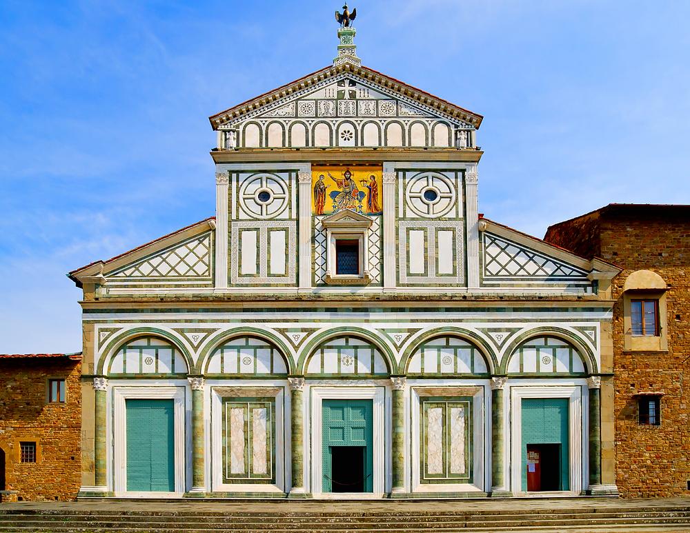 facade of Florence's ancient San Miniato al Monte